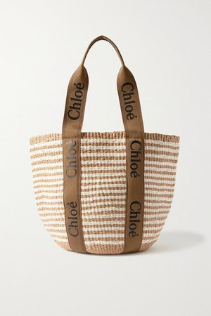 Woody Large Printed Canvas And Leather-trimmed Striped Raffia Tote - Brown