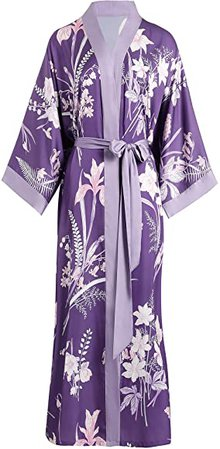 Aensso long lightweight soft silky robes for women,floral bridal bridesmaid summer kimonos robe-Purple at Amazon Women's Clothing store