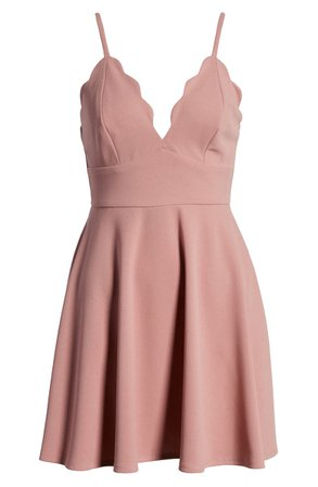 Speechless Scallop Neck Sleeveless Skater Dress | Nordstrom