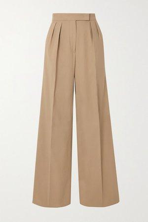 Malizia Pleated Stretch-cotton Wide-leg Pants - Camel