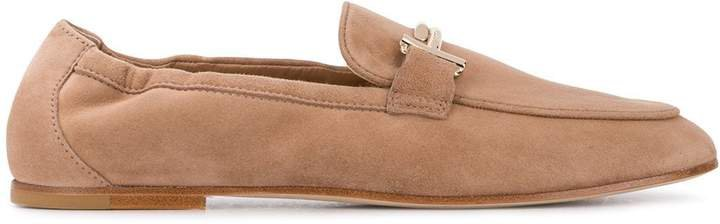 double T elastic-trimmed loafers