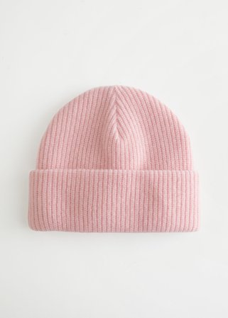 Knitted Wool Blend Beanie - Light Pink - Beanies - & Other Stories