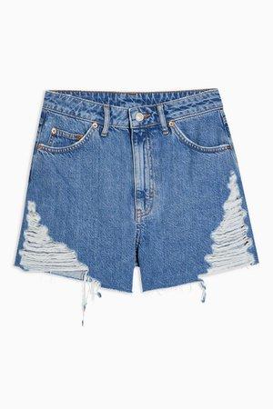 A Line Ripped Detail Denim Shorts   Topshop