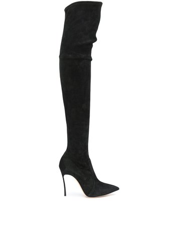 Casadei Over-The-Knee Heeled Boots 1T908L100HHCAMO Black | Farfetch