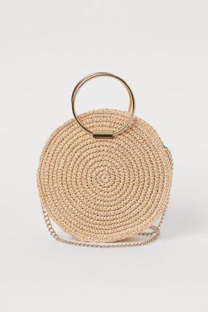 Round Straw Shoulder Bag - Light beige - Ladies | H&M US
