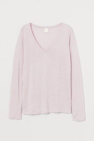 V-neck Jersey Top - Pink
