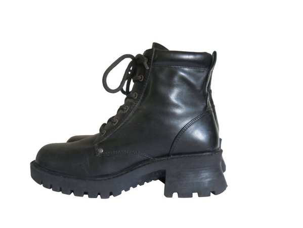 90s Black Boot Women Military Boot Lace Up Ankle Boot 90s   Etsy