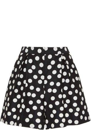 Carolina Herrera Polka-Dot Cotton-Silk Blend High-Waisted Shorts Size: