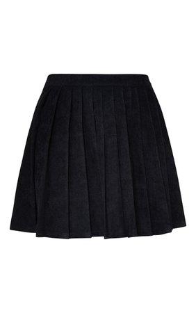 Black Cord Pleated Skater Skirt | PrettyLittleThing USA