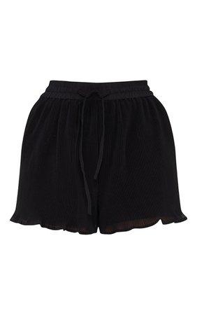 Black Drawstring Plisse Floaty Shorts | PrettyLittleThing USA