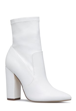 White pointed-toe boot