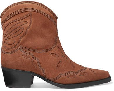 Low Texas Embroidered Suede Ankle Boots - Brown
