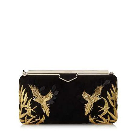 Black Suede Clutch Bag with Gold Bird Embroidery | ELLIPSE | Autumn Winter 18 | JIMMY CHOO