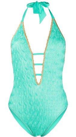 Mare textured knit halter neck swimsuit