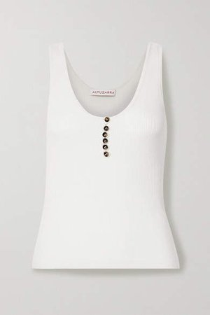Ribbed Wool And Cashmere-blend Tank - Cream