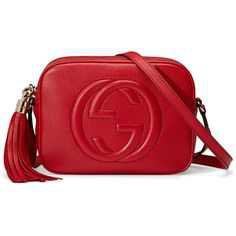 Gucci Soho Leather Disco Bag (57.395 RUB) ❤ liked on Polyvore featuring bags, handbags, gucci, purses, bolsas, red, leather handbags, shoulder handbags, gucci shoulder bag and leather hand bags