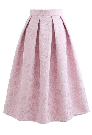 Pink Blossom Jacquard Pleated Midi Skirt - Retro, Indie and Unique Fashion