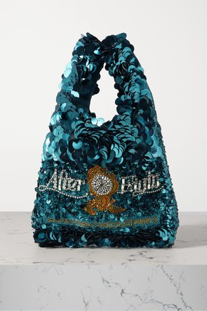 Teal Mini embellished sequined satin tote | Anya Hindmarch | NET-A-PORTER