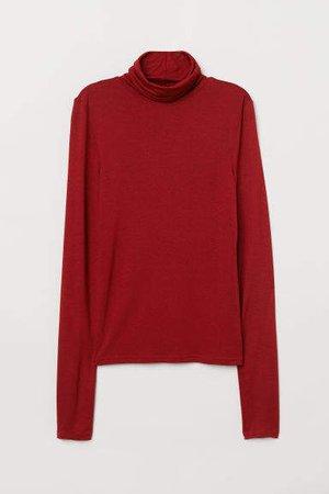 Jersey Turtleneck Top - Red