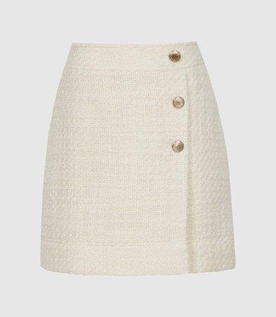 June Cream Boucle Mini Skirt – REISS