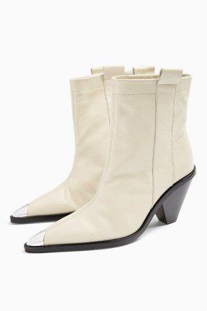 MELLIE Buttermilk Western Toe Cap Boots | Topshop