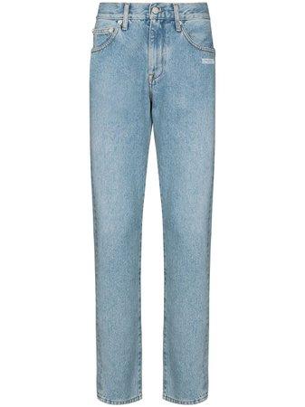 Off-White logo-print slim-leg jeans blue OMYA011F20DEN0024001 - Farfetch