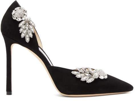 Teja 100 Crystal-embellished Suede D'orsay Pumps - Womens - Black
