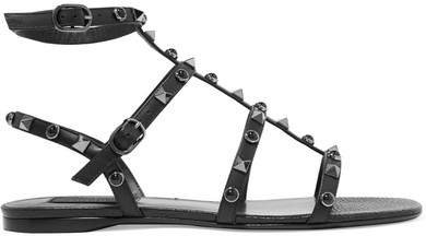 Garavani The Rockstud Leather Sandals - Black