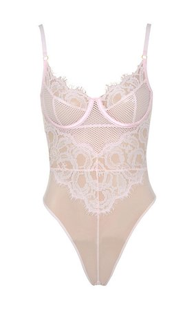 Intimates : 'Nadia' Dusty Pink Lace Bodysuit