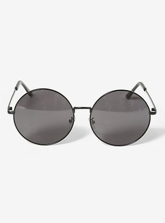 Black Large Round Sunglasses
