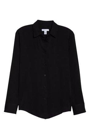 Nordstrom Signature Long Sleeve Stretch Silk Button-Up Shirt black