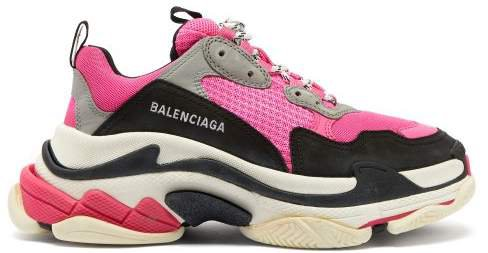 Triple S Low Top Leather Trainers - Womens - Black Pink