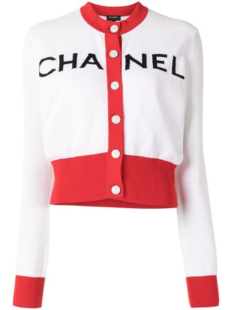 Chanel Pre-Owned Round Neck Logo Cardigan - Farfetch