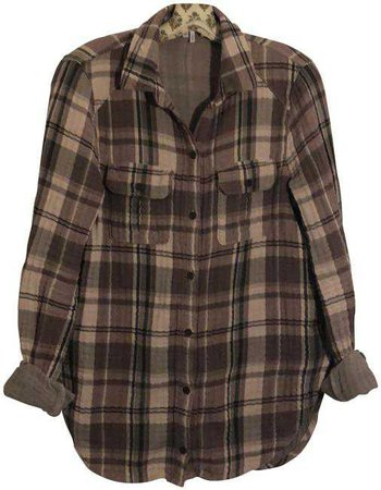 Paige Purple Plaid Flannel Shirt Button-down Top Size 8 (M) - Tradesy