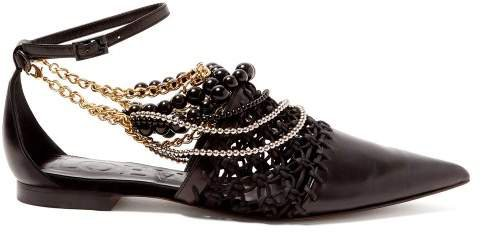 Chain Embellished Leather Flats - Womens - Black