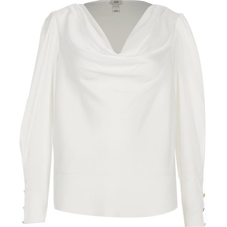 White long sleeve cowl neck satin blouse | River Island