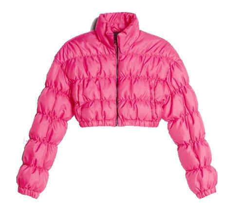 bershka puffer jacket pink