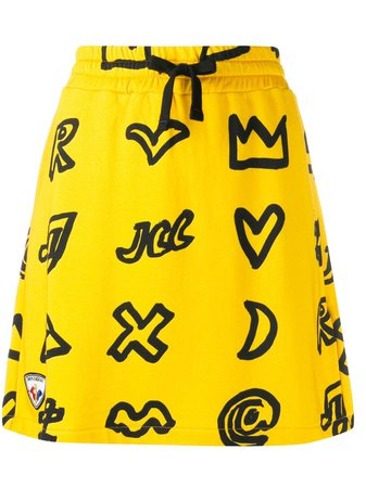Shop yellow Rossignol x JCC scribbled symbol cotton blend skirt with Express Delivery - Farfetch