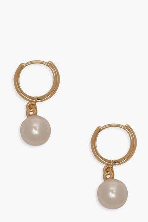 Pearl Pendant Huggie Hoop Earrings | Boohoo