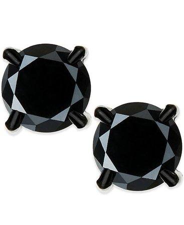 Macy's Men's Black Diamond stud Earrings in Stainless Steel (2 ct. t.w.) & Reviews - Earrings - Jewelry & Watches - Macy's