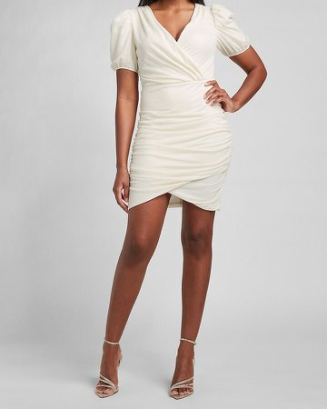 Ruched Wrap Front Puff Sleeve Dress