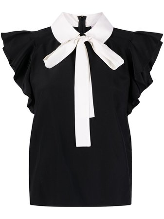 RED Valentino ruffled-sleeves pussy-bow Blouse