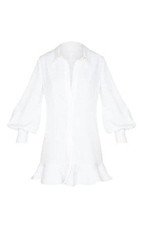 White Frill Hem Shirt Dress | Dresses | PrettyLittleThing