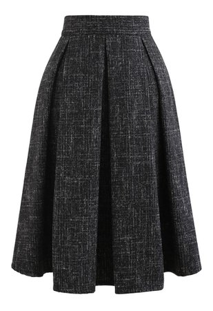 Flare Pleated Wool-Blend Skirt in Black - Retro, Indie and Unique Fashion