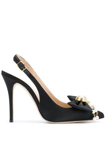 Alessandra Rich Slingback Bow Detail Pumps - Farfetch