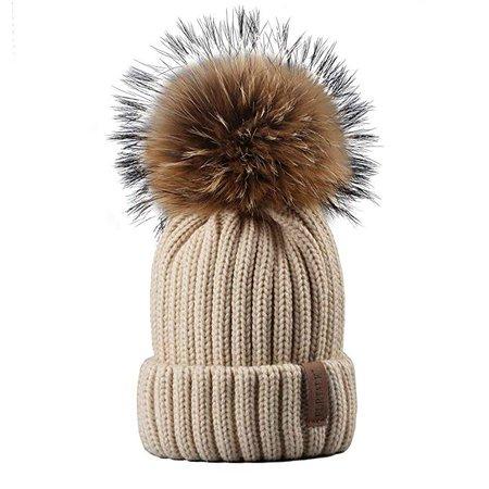 FURTALK Winter Hat With Real Raccoon Fur Pom-Pom