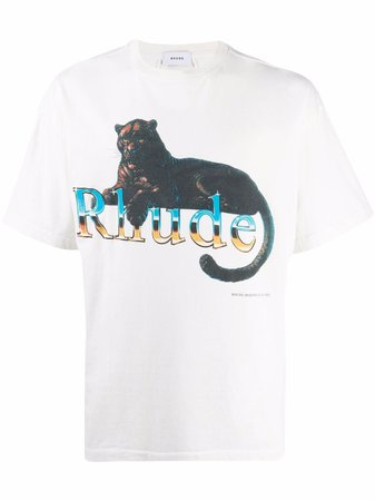 Shop Rhude graphic-print cotton T-shirt with Express Delivery - FARFETCH