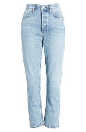 AGOLDE Riley High Waist Crop Straight Leg Jeans (Blur) | Nordstrom