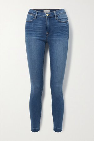 Le High Frayed Skinny Jeans - Mid denim