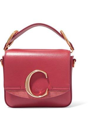 Chloé | Chloé C mini suede-trimmed leather shoulder bag | NET-A-PORTER.COM